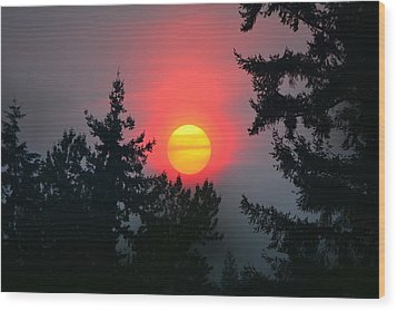 Wildfire Sunset Wood Print