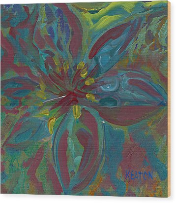 Wood Print featuring the painting Wildflower 1 by John Keaton