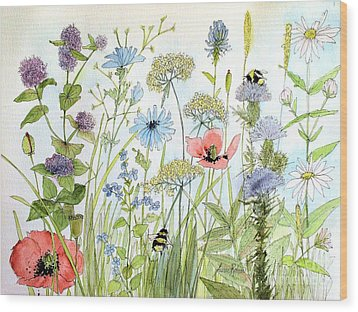 Wildflower And Bees Wood Print