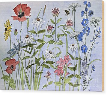 Wildflower And Blue Sky Wood Print