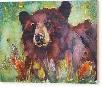 Wildflower Bear Wood Print
