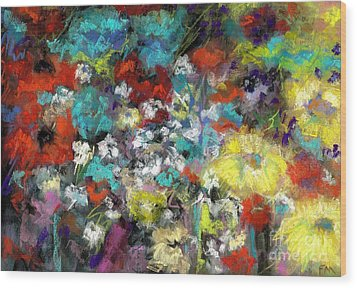 Wildflower Field Wood Print by Frances Marino