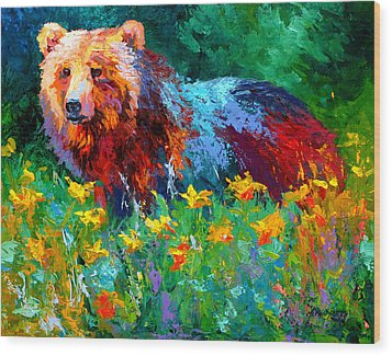 Wildflower Grizz II Wood Print by Marion Rose