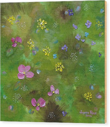 Wood Print featuring the painting Wildflower Support by Judith Rhue