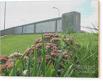 Wildflowers Beside The Bridge Wood Print by Marsha Heiken