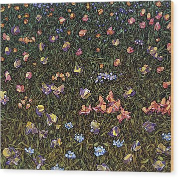 Wood Print featuring the painting Wildflowers by James W Johnson