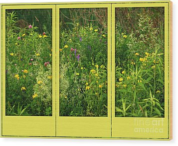 Wood Print featuring the photograph Wildflowers Through A Window by Smilin Eyes  Treasures