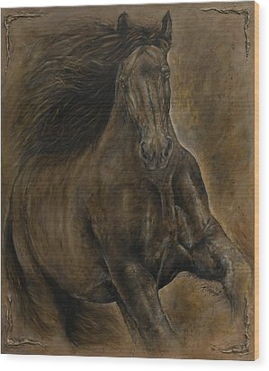 Wildheart....sang To Me Wood Print by Paula Collewijn -  The Art of Horses