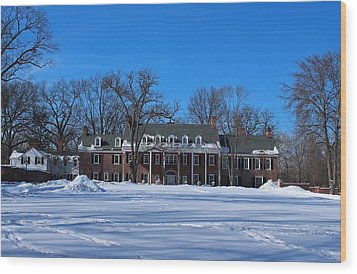 Wood Print featuring the photograph Wildwood Manor House In The Winter by Michiale Schneider