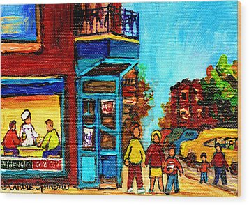 Wilensky's Lunch Counter With School Bus Montreal Street Scene Wood Print by Carole Spandau