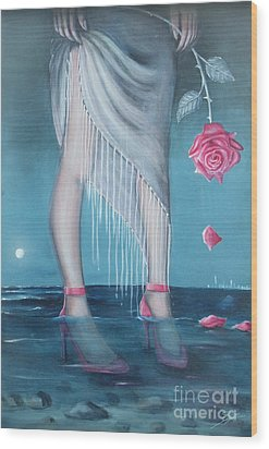 Wood Print featuring the painting Will You Be My Valentine by Sgn