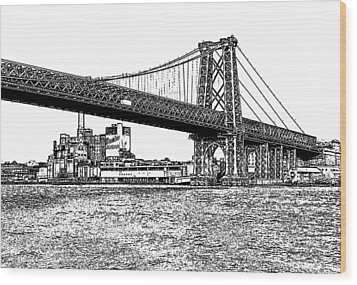 Williamsburg Bridge 1.1 - New York Wood Print by Frank Mari
