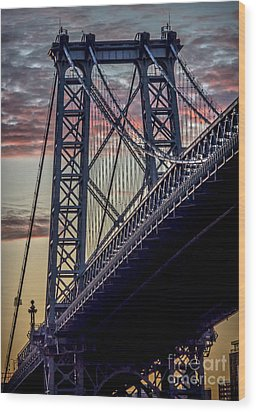 Williamsburg Bridge Structure Wood Print by James Aiken