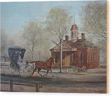 Williamsburg Courthouse Wood Print by Charles Roy Smith