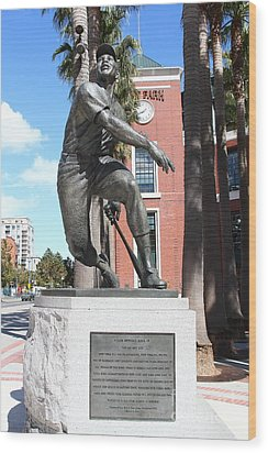 Willie Mays At San Francisco Giants Att Park . 7d7636 Wood Print by Wingsdomain Art and Photography