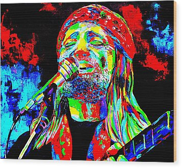 Willie Nelson Wood Print by Mike OBrien