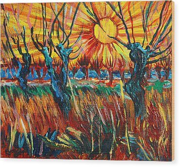Willows At Sunset - Study Of Vincent Van Gogh Wood Print by Karon Melillo DeVega