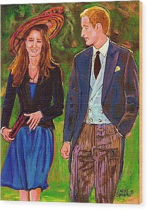 Wills And Kate The Royal Couple Wood Print by Carole Spandau