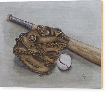 Wilson Baseball Glove And Bat Wood Print