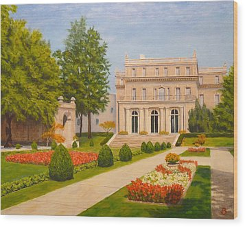 Wood Print featuring the painting Wilson Hall Monmouth University by Joe Bergholm