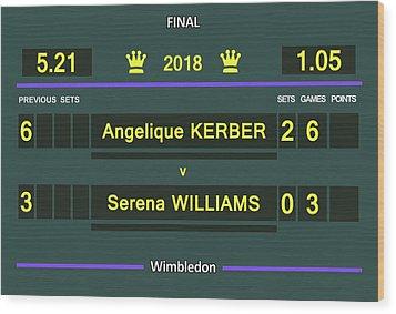 Wimbledon Scoreboard - Customizable - 2017 Muguruza Wood Print