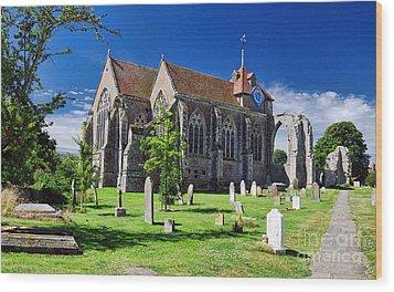 Winchelsea Church Wood Print by Nigel Fletcher-Jones