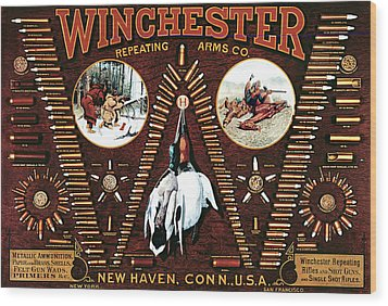 Winchester W Cartridge Board Wood Print by Unknown