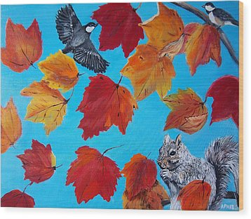 Wind And The Autumn Sky Wood Print by Aleta Parks