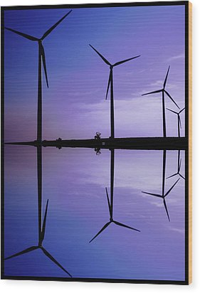 Wind Energy Turbines At Dusk Wood Print