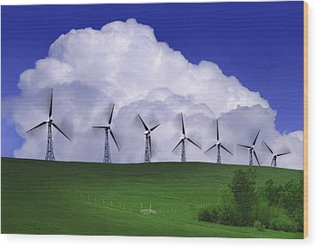 Wind Generators With Clouds In Wood Print by Don Hammond