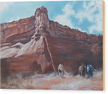 Wood Print featuring the painting Wind Horse Canyon by Karen Kennedy Chatham