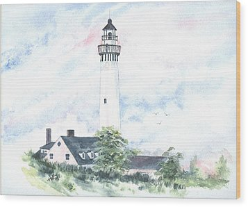 Wind Point Lighthouse Wood Print by Denise   Hoff