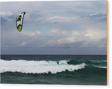 Wind Surfing Surfer's Paradise Wood Print by Susan Vineyard