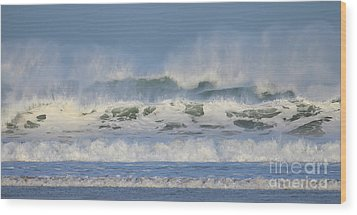 Wood Print featuring the photograph Wind Swept Waves by Nicholas Burningham