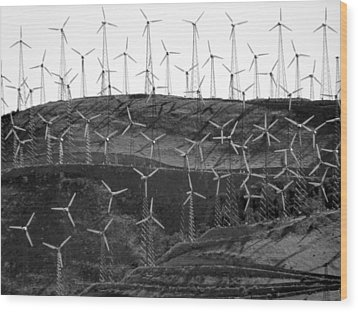 Wind Turbine Farm Wood Print by Jeff Lowe