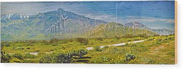 Wood Print featuring the photograph Wind Turbine Farm Palm Springs Ca by David Zanzinger