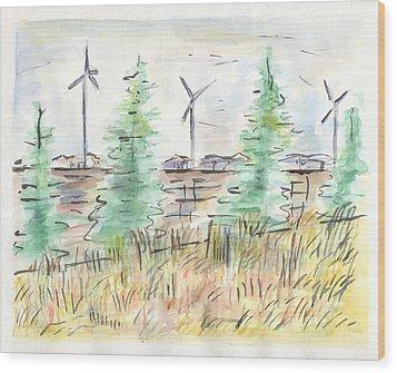 Wind Turbines Wood Print