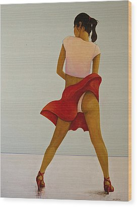 Wind Up Her Skirt Wood Print by Peter Wedel