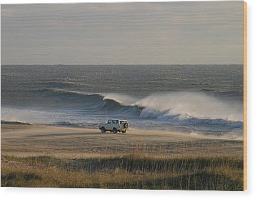 Wind, Waves And Fisherman In An Suv Wood Print by Skip Brown