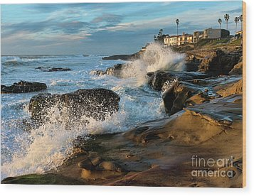 Wood Print featuring the photograph Windansea Beach At High Tide by Eddie Yerkish
