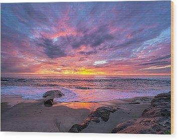 Windansea Beach Sunset Wood Print