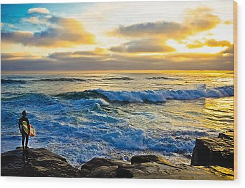 Windansea Sunset Surfer Wood Print