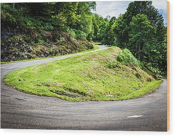 Winding Road With Sharp Bend Going Up The Mountain Wood Print by Semmick Photo