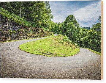 Winding Road With Sharp Curve Going Up The Mountain Wood Print by Semmick Photo