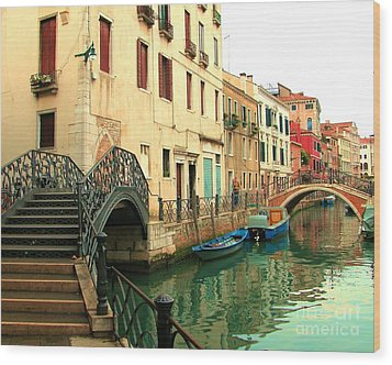 Winding Through The Watery Streets Of Venice Wood Print by Barbie Corbett-Newmin