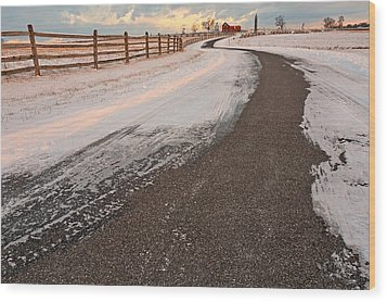 Winding Winter Road Wood Print