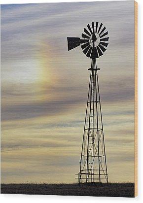 Windmill And Sun Dog Wood Print