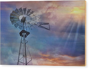 Wood Print featuring the photograph Windmill At Sunset by Susan Candelario