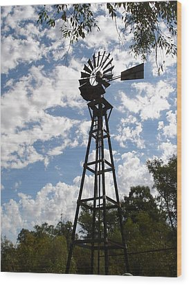 Windmill At The Arboretum Wood Print by Marilyn Barton