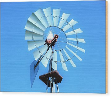Wood Print featuring the photograph Windmill - Bright Sunny Day by Ray Shrewsberry
